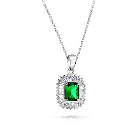 Art Deco Style Green Rectangle Baguette Halo AAA CZ Simulated Emerald Cut Pendant Necklace For Women Silver Plated - image 2 de 5