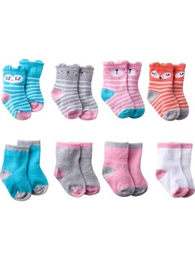 Gerber Wiggle-Proof Jersey Ankle Bootie Socks, 8-pack (Baby Girls)