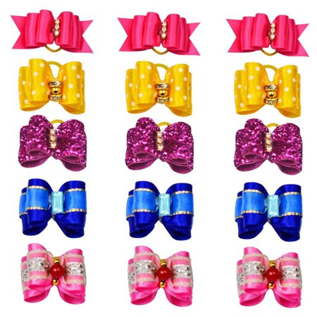 10 Pcs Dog Cat Puppy Hair Clips Alligator Clips Hair Bow Tie Flower Bowknot Hairpin Pet Grooming Puppy Hair Accessories