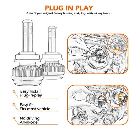 1Pair 80W COB LED Car Headlight Kit H7 6000K 8000LM Fog Bulbs HID Lamp Set - image 6 de 8