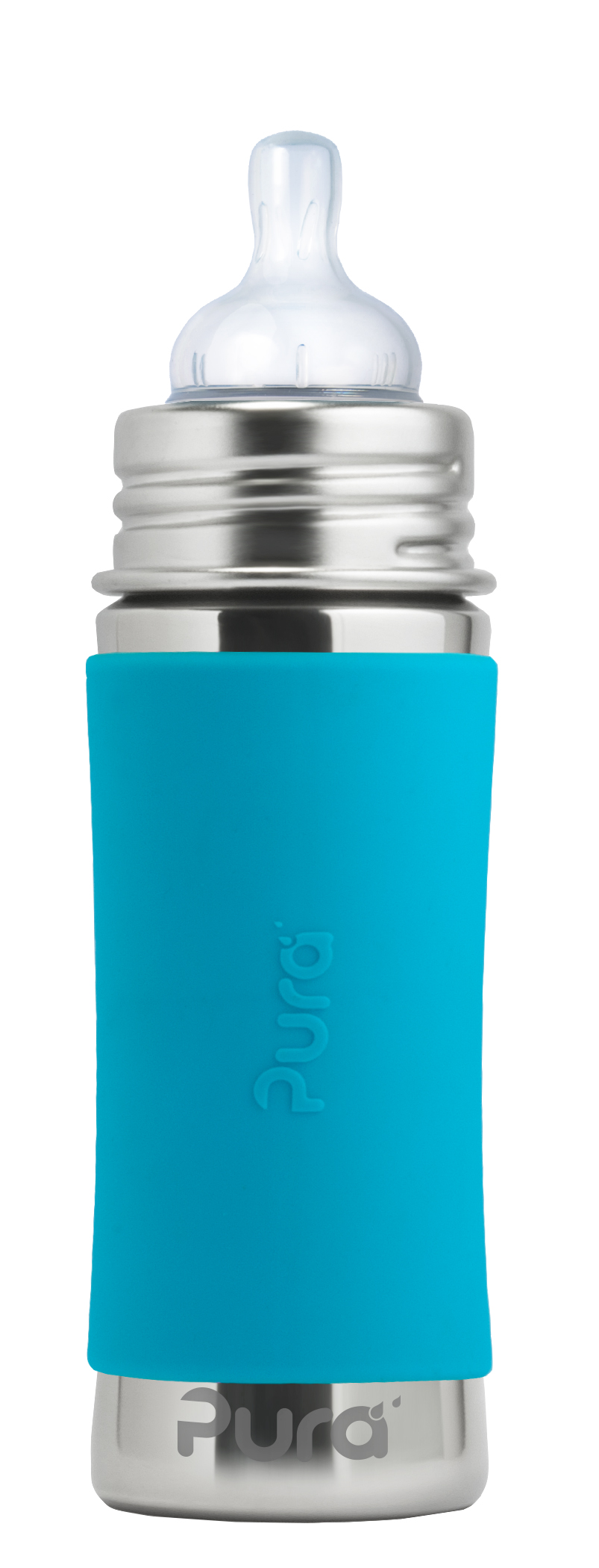 Pura Kiki 11 Oz   325 Ml Stainless Steel Infant Bottle With Silicone Medium-flow Nipple & Sleeve, Aqua... by Pura Stainless