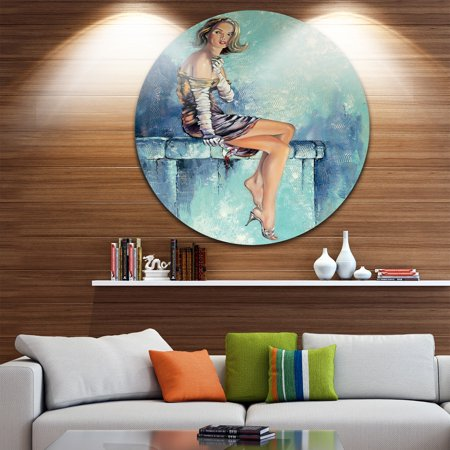 DESIGN ART Designart 'Girl with Glass' Portrait Glossy Large Disk Metal Wall