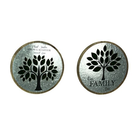 2 Piece Rustic Galvanized Family Tree Wall Hanging Set