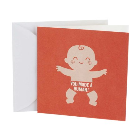 Hallmark Studio Ink, Made a Human, Baby Congratulations Greeting Card