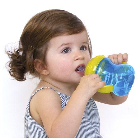 No-Spill Grip N' Sip Cup with Super Straw, 8 Ounce, Colors May Vary, Helps baby transition from sippy cup drinking to straw drinking By
