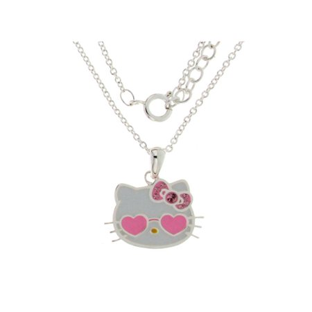Sanrio Hello Kitty Sunglasses Heart Pendant. GIFT BOX Silver plated