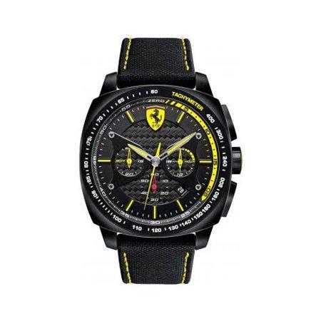 Scuderia Ferrari Black Dial Ss Leather Chronograph Quartz Mens Watch 830165