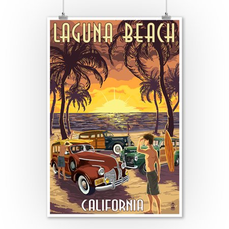 Laguna Beach, California - Woodies & Sunset - Lantern Press Artwork (9x12 Art Print, Wall Decor Travel Poster) ()