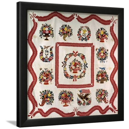 Fine and Important Appliqued and Stuffed Album Quilt 90 X 90in, Baltimore, MD, 1850 Framed Print Wall Art By Mary - Baltimore Halloween Quilt