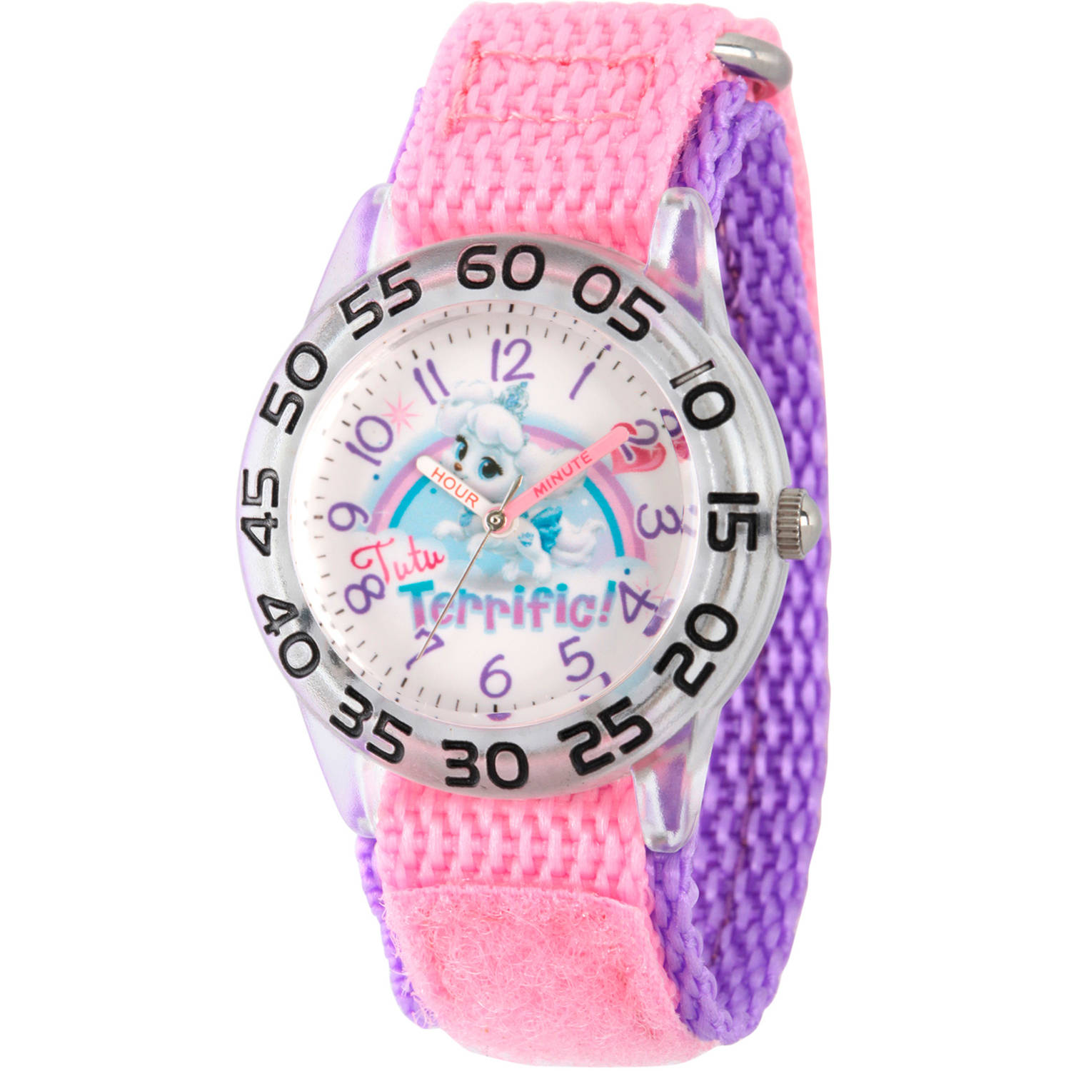 Disney Palace Pet Pumpkin Girls' Plastic Time Teacher Watch, Pink Hook and Loop Nylon Strap with Purple Backing