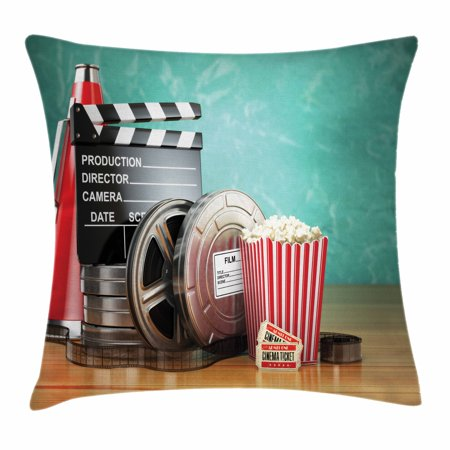 Movie Theater Throw Pillow Cushion Cover, Production Theme 3D Film Reels Clapperboard Tickets Popcorn and Megaphone, Decorative Square Accent Pillow Case, 18 X 18 Inches, Multicolor, by - Movie Themed