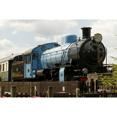 Steam Rails - Canvas Print Rail Vintage Railways Blue Steam Old Engine Stretched Canvas 10 x 14