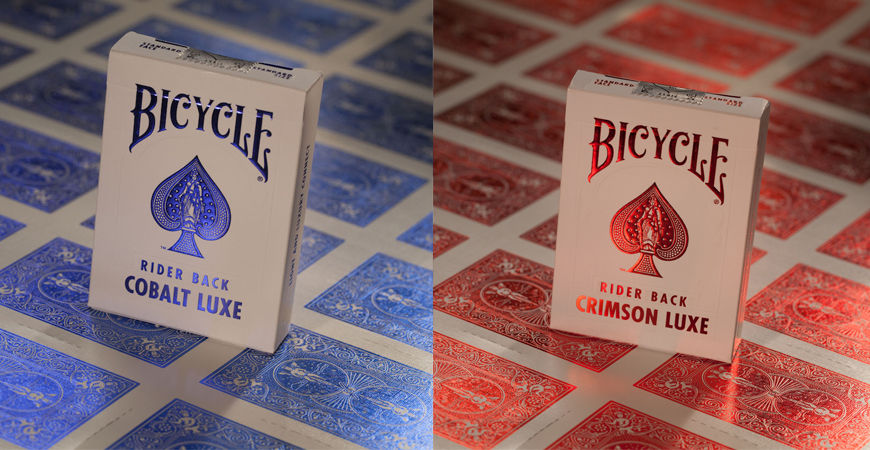 2 Decks Bicycle Metal Luxe Rider Back Playing Cards Crimson Red and Cobalt Blue by USPCC