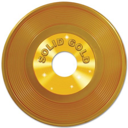 Club Pack of 12 Gold 50's Rock and Roll Plastic Record Party Decorations 19