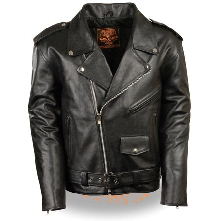 Milwaukee Leather Milwaukee Leather Mens Classic Police Style Black Leather Motorcycle Jacket - X-Small Black XS Diamond Plate Motorcycle Jacket