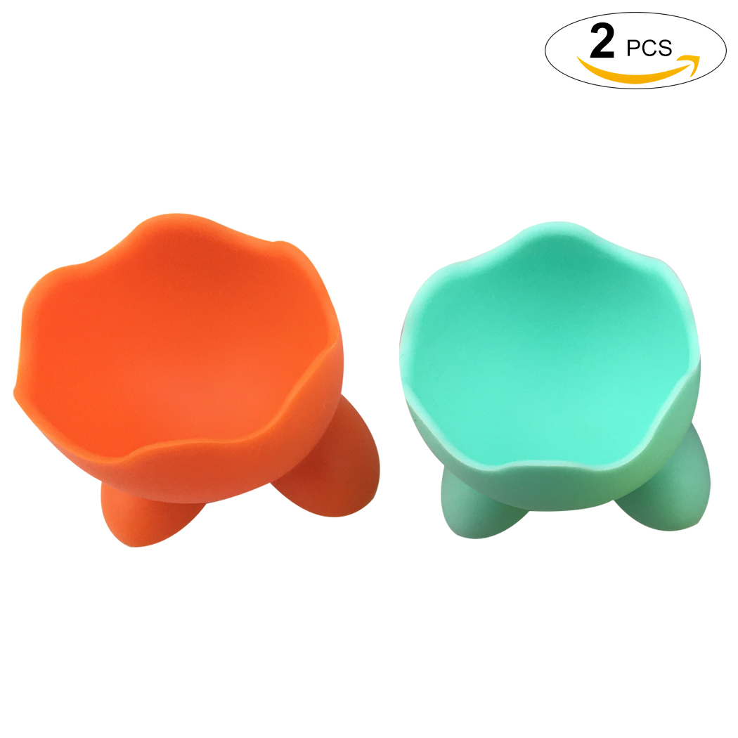 2Pcs Egg Cup Silicone Non-stick Egg Poacher Egg Stand Holder for Microwave or Stovetop by Outgeek