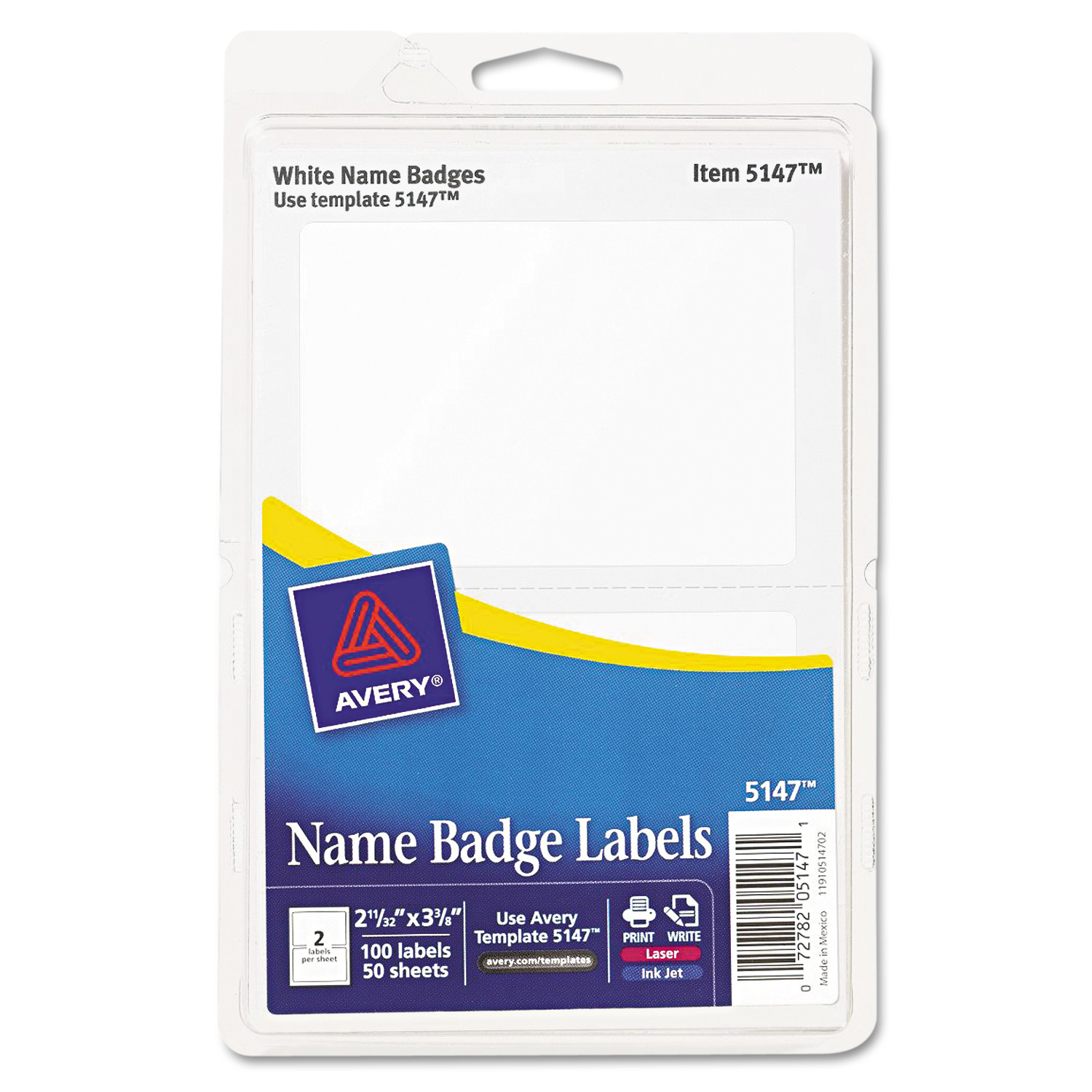 Avery Printable Self-Adhesive Name Badges, 2 1/3 X 3 3/8, White
