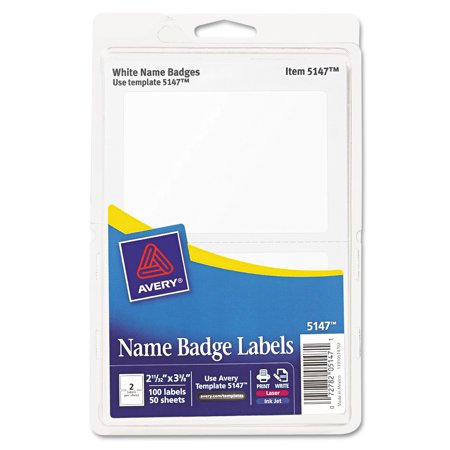 Avery Printable Self-Adhesive Name Badges, 2 1/3 x 3 3/8, White, 100/Pack