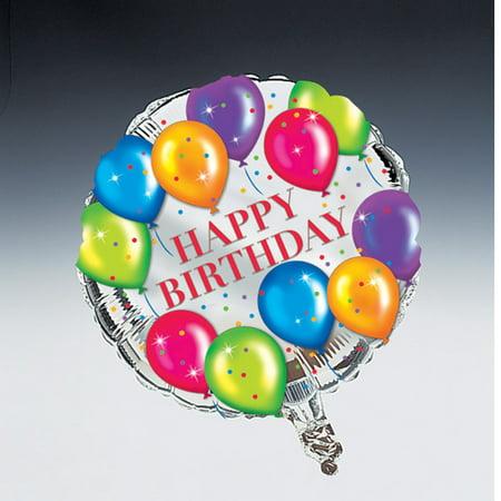 Happy Birthday Round Foil - Mylar Streamers