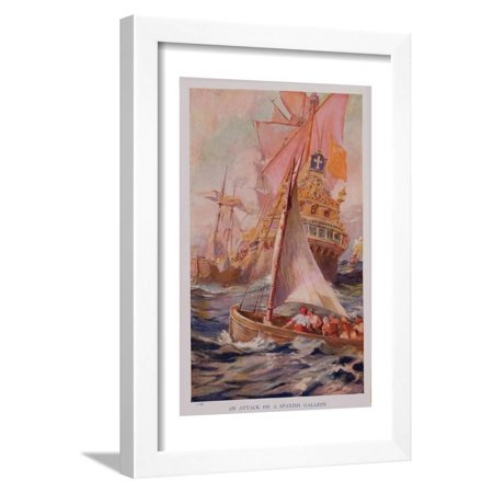 An Attack on a Spanish Galleon, Book Illustration from 'Pioneers in Tropical America' Framed Print Wall Art By Harry Hamilton Johnston