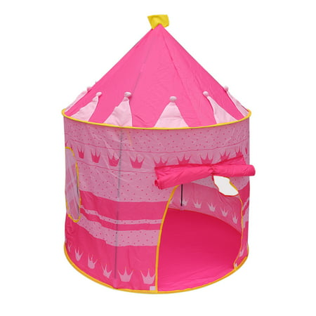 Children Play Princess Tent Pink - Tent for Girl Castle for Indoor/Outdoor Use With Glow in the Dark Stars Foldable with Carry Case - Creatov