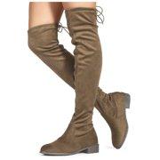 """Medium Calf"" Women's Flat Low Heel Stretch Over The Knee Boots #19114"