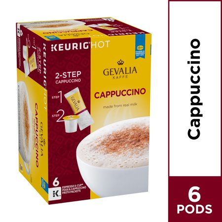 Krups Espresso Pods - Gevalia Cappuccino K Cup Espresso Pods with Cappuccino Froth Packets, Caffeinated, 6 ct - 5.6 oz Box