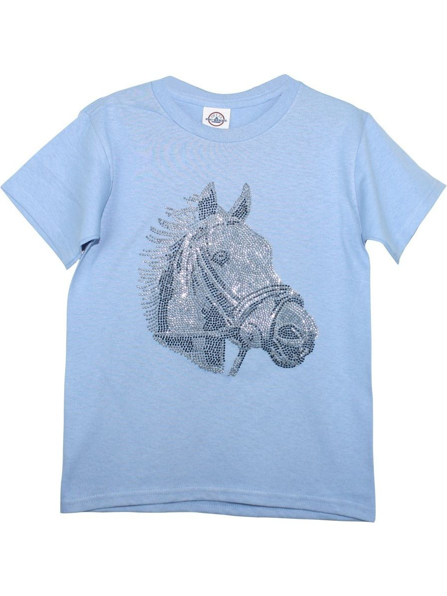 Girls Sky Blue Horse Head Print Short Sleeved Cotton T-Shirt