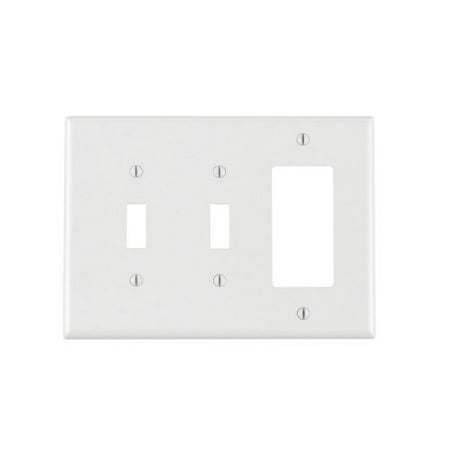 Leviton PJ226-W White Midway Nylon Three Gang Combination Two Toggle Switch One Decora Wall (1 Toggle Decora Wall Plate)