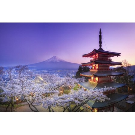 Japan, Yamanashi Prefecture, Fuji-Yoshida, Chureito Pagoda, Mt Fuji and Cherry Blossoms Print Wall Art By Michele (Fuji Xf 18 55 Vs 16 55)