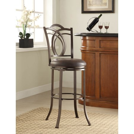 Linon Calif Metal Bar Stool, Coffee Brown, 30 inch Seat Height