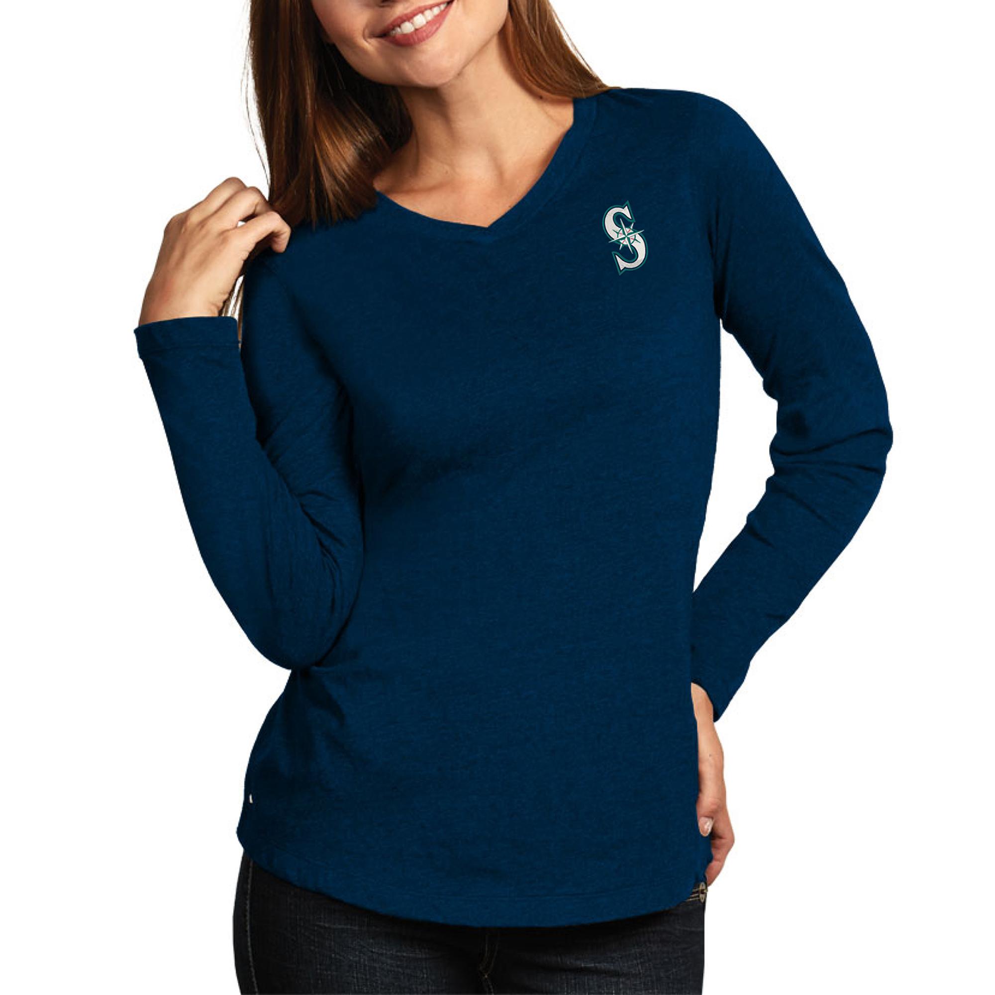 Seattle Mariners Antigua Women's Flip Long Sleeve T-Shirt - Heather Navy