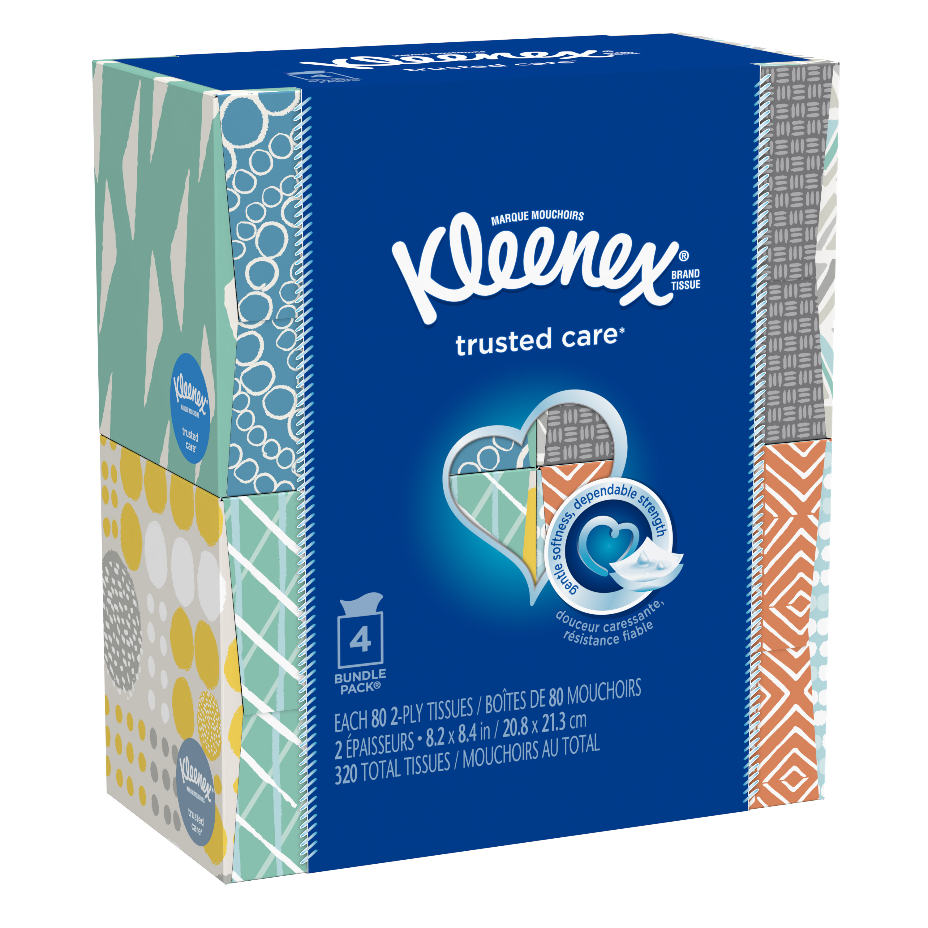Kleenex Everyday, 80 Tissues Per Cube Box, Pack of 4, Facial Tissues
