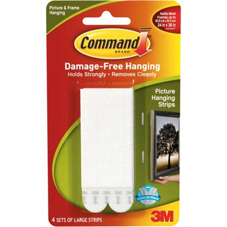 3M 17206ES 0.5 x 3.62 in. Picture Hanging Strips, White - 4 per Pack - image 1 of 1