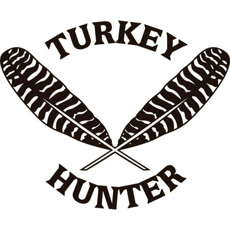 Custom Wall Decal Turkey Hunter With Feather Design Animal Hunting Vinyl Sticker s Decorative Adhesive Wall Art Decoration Ideas 8 X 12