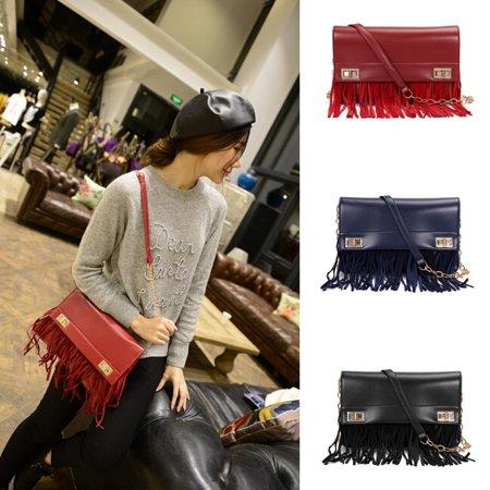 New Women Leather Tassels Handbag Crossbody Shoulder Chain Messenger Bag Satchel - Leather Tassels