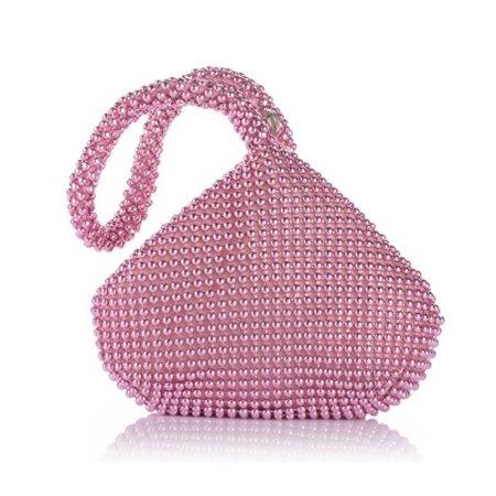 Amtal Women Pink Small Rhinestone Beaded Wristlet Pouch Style Evening Bag