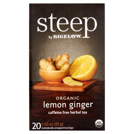 Steep par Bigelow Steep Citron Bio Ginger caféine Tisane 20 sachets de thé, 1,55 oz Pack 6