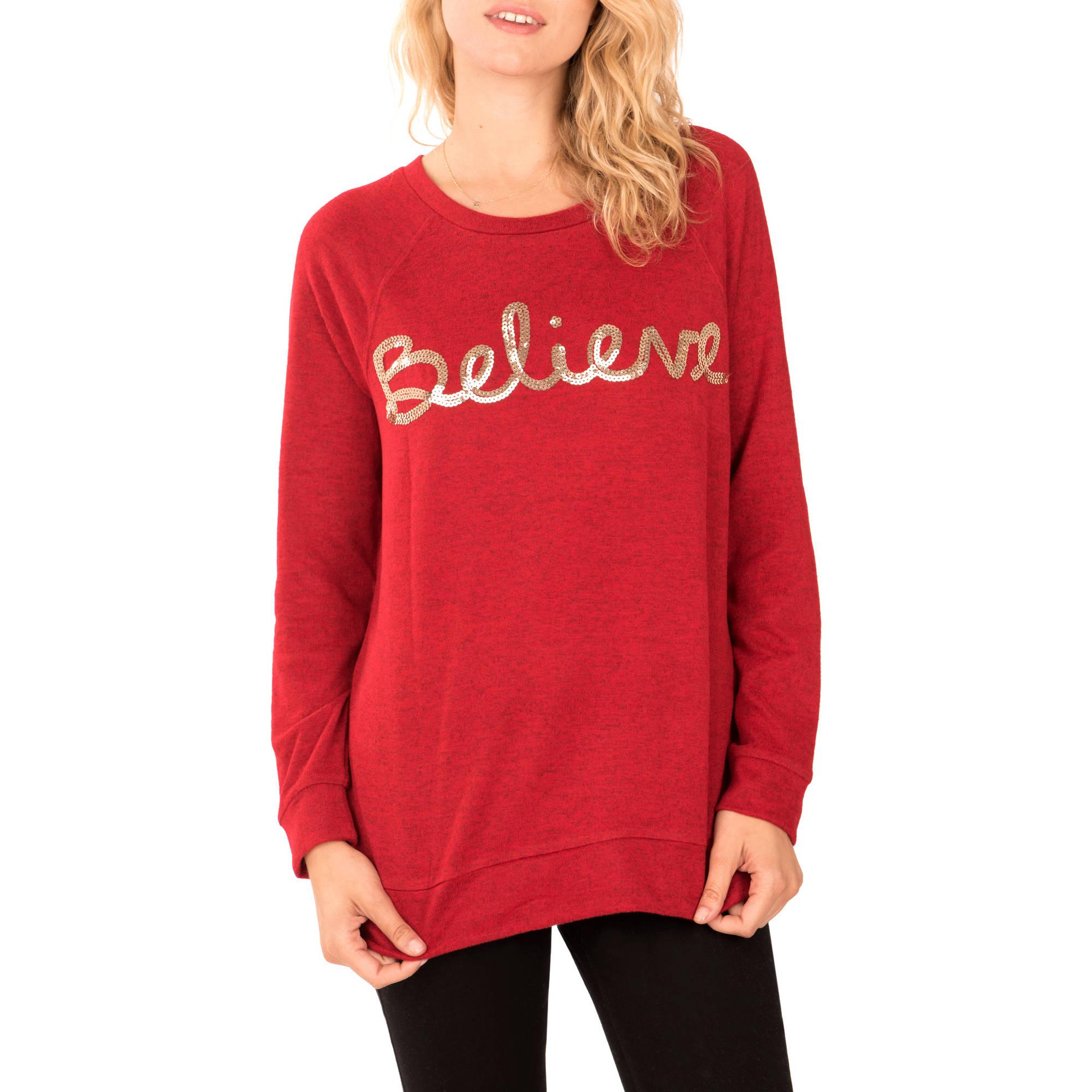 Faded Glory Women's Long Sleeve Scoopneck Festive T-Shirt