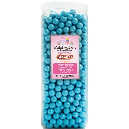 Celebration by SweetWorks Sixlets Chocolate Flavored Shimmer Powder Blue Candy, 30 oz (Sixlets Halloween)