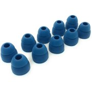 5 Pair Double Flange Earbud Headphones Replacement Silicone Ear Tips for Skullcandy, Panasonic, LG, Powerbeats, Symphonized, iFrogz, Mpow, JVC (Dark Blue)