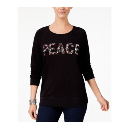 Style Co Petite Embellished Peace Sweat Deep Black PL