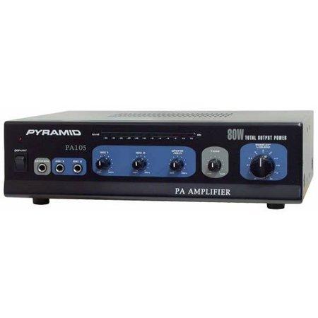 PA105 80 Watt Microphone AC & DC 12 Volt PA Amplifier 70V Output & Mic Talk
