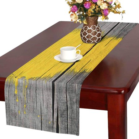 MKHERT Ancient Wooden Board with Yellow Paint Splashes Brush Stroke Grunge Design Elements Table Runner for Office Kitchen Dining Wedding Party Banquet 16x72 Inch