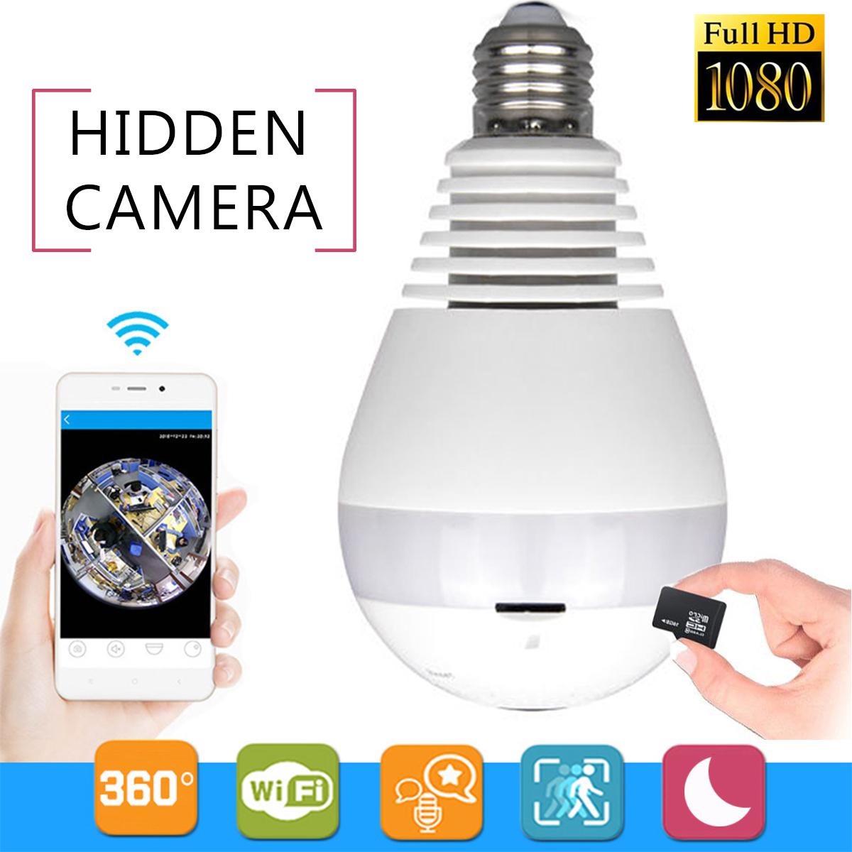 Grtsunsea 1080P HD 360° Panoramic Hidden Fish Eye Camera LED Light Bulb Camera Wifi App Control