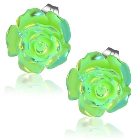 CLEARANCE - Shimmering Green Rose Stud Earrings Green