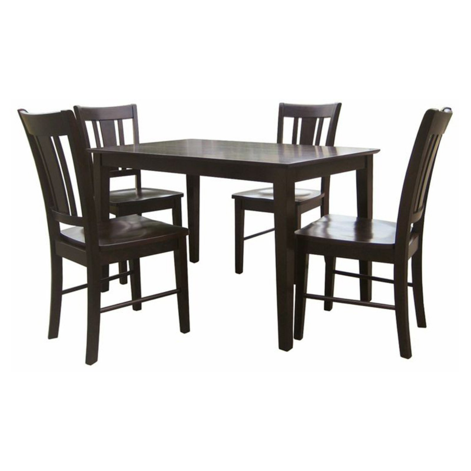 International Concepts Samberg 5 Piece Dining Table Set With 4 San Remo  Chairs   Rich Mocha