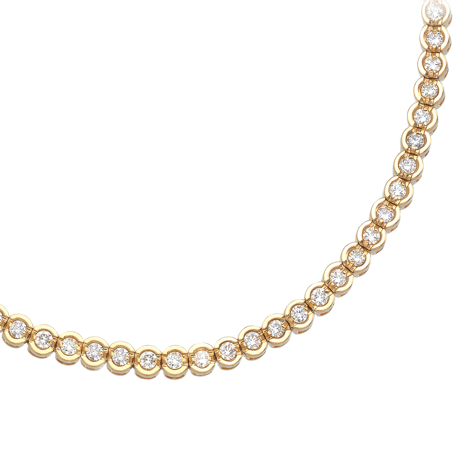 14K Yellow Gold Round Diamond Circular Style Tennis Bracelet by