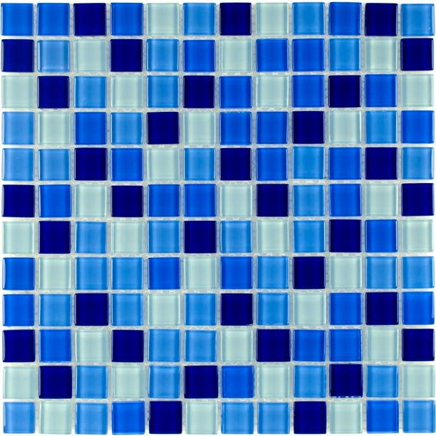 Mto0297 Classic 1x1 Stacked Squares Blue White Glossy Glass Mosaic Tile Walmart Com Walmart Com