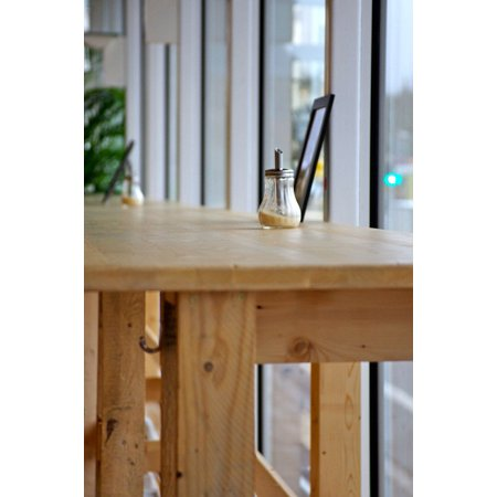Laminated Poster Cafe Sugar Bar Table Wooden Table Furniture Poster Print 11 x 17